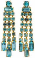 Vintage Gold Plated and Aqua Blue Diamante Drop Earrings